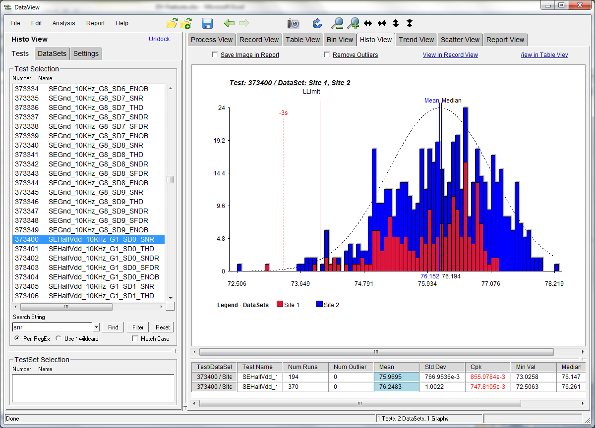 DataView Features – Test Spectrum